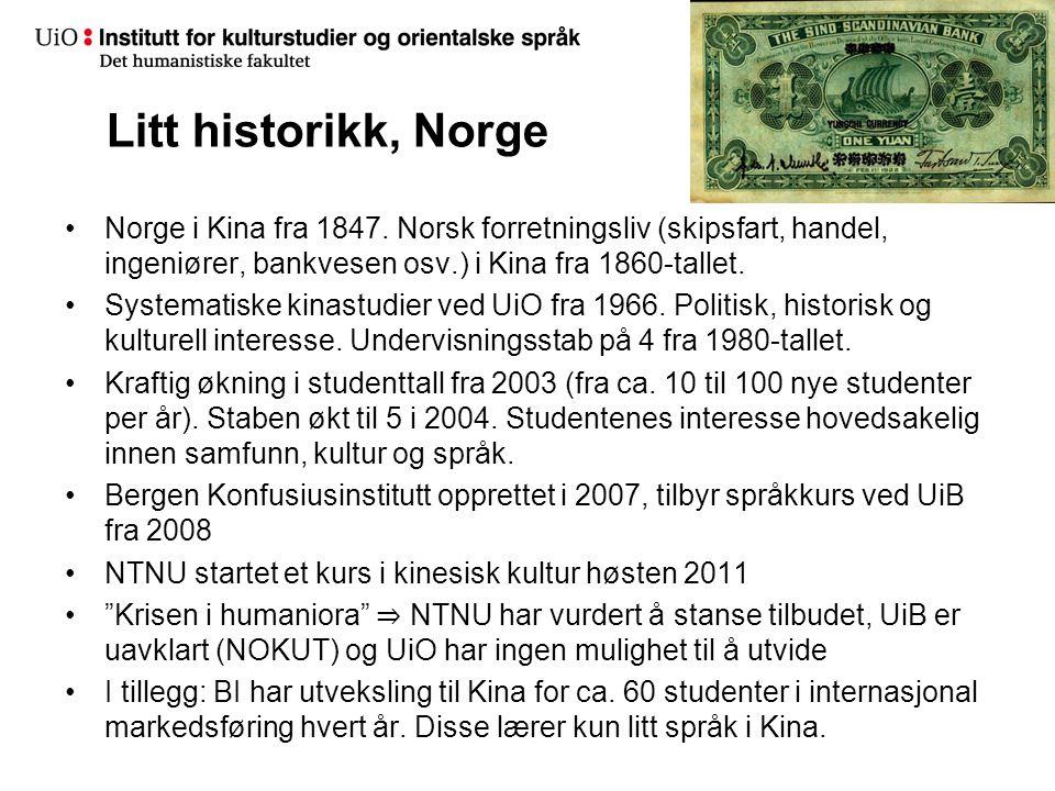 Litt historikk, Norge •Norge i Kina fra 1847.