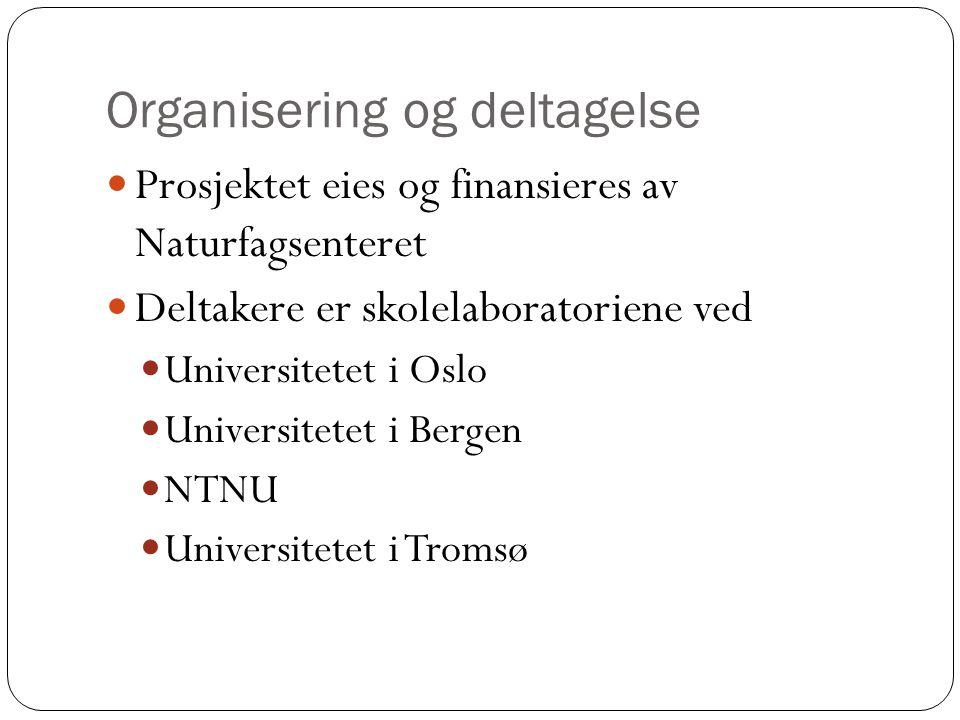 Organisering og deltagelse  Prosjektet eies og finansieres av Naturfagsenteret  Deltakere er skolelaboratoriene ved  Universitetet i Oslo  Univers