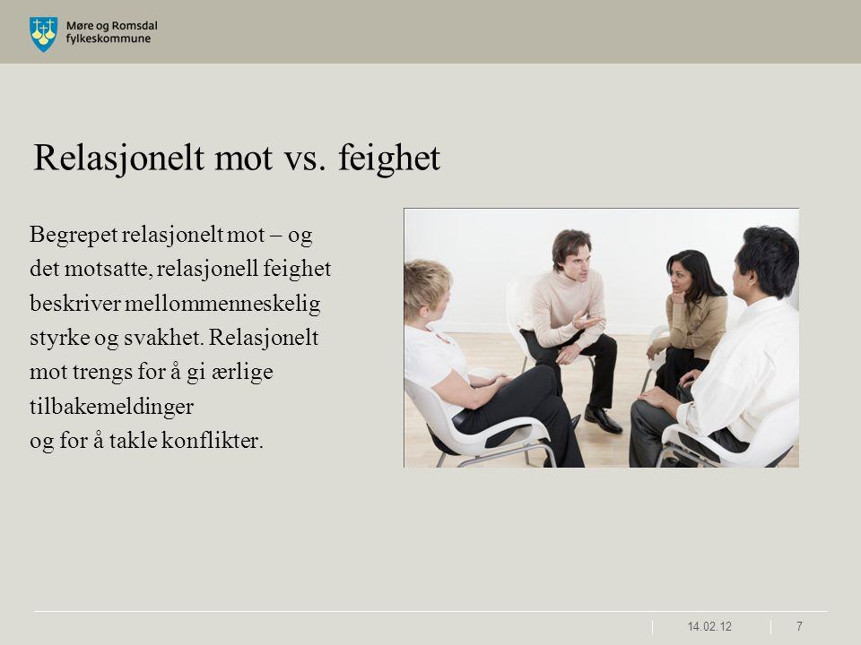 14.02.127 Relasjonelt mot vs. feighet Begrepet relasjonelt mot – og det motsatte, relasjonell feighet beskriver mellommenneskelig styrke og svakhet. R