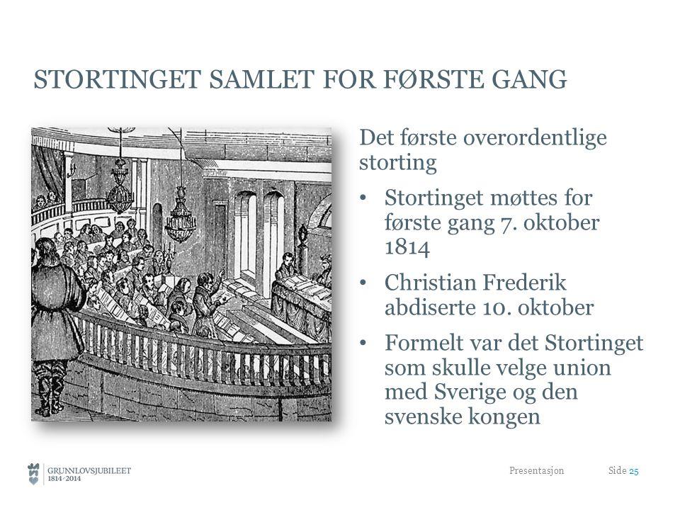 STORTINGET SAMLET FOR FØRSTE GANG Det første overordentlige storting • Stortinget møttes for første gang 7.