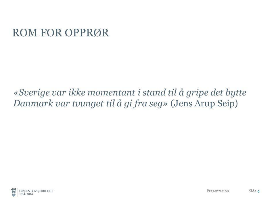 ROM FOR OPPRØR «Sverige var ikke momentant i stand til å gripe det bytte Danmark var tvunget til å gi fra seg» (Jens Arup Seip) Presentasjon Side 9