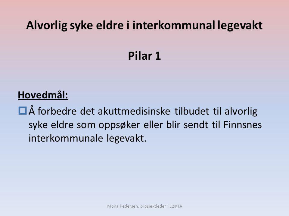 Alvorlig syke eldre i interkommunal legevakt Pilar 1 Hovedmål:  Å forbedre det akuttmedisinske tilbudet til alvorlig syke eldre som oppsøker eller bl