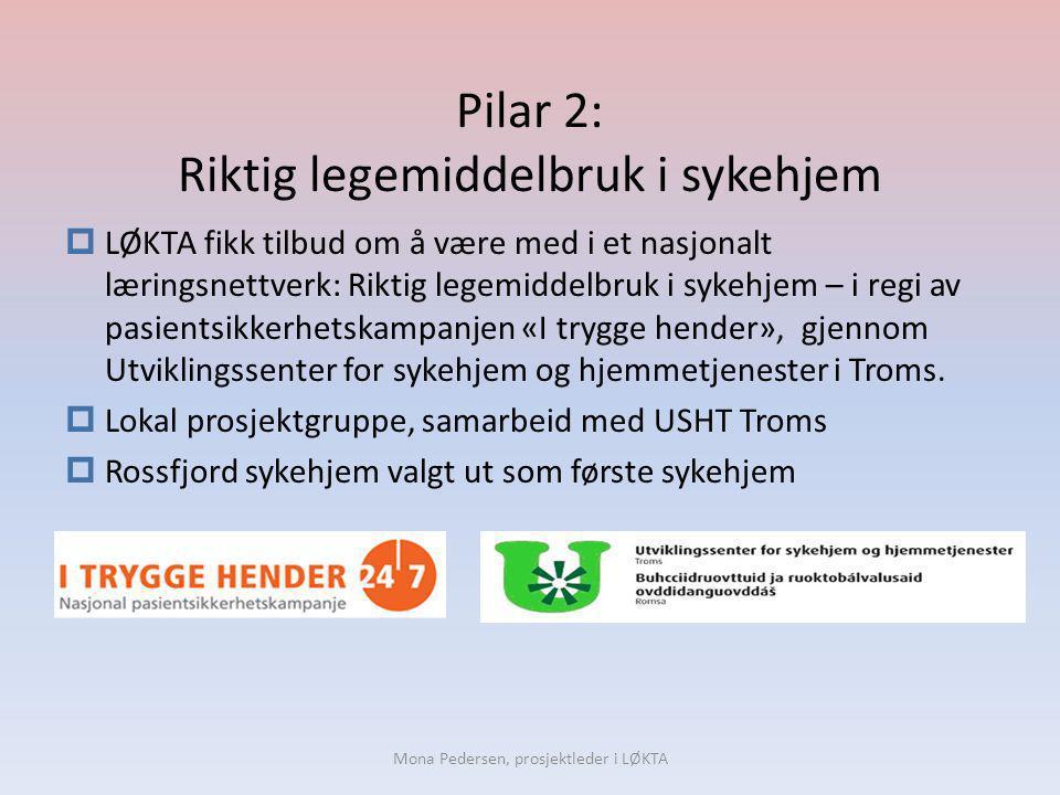 Pilar 2: Riktig legemiddelbruk i sykehjem  LØKTA fikk tilbud om å være med i et nasjonalt læringsnettverk: Riktig legemiddelbruk i sykehjem – i regi