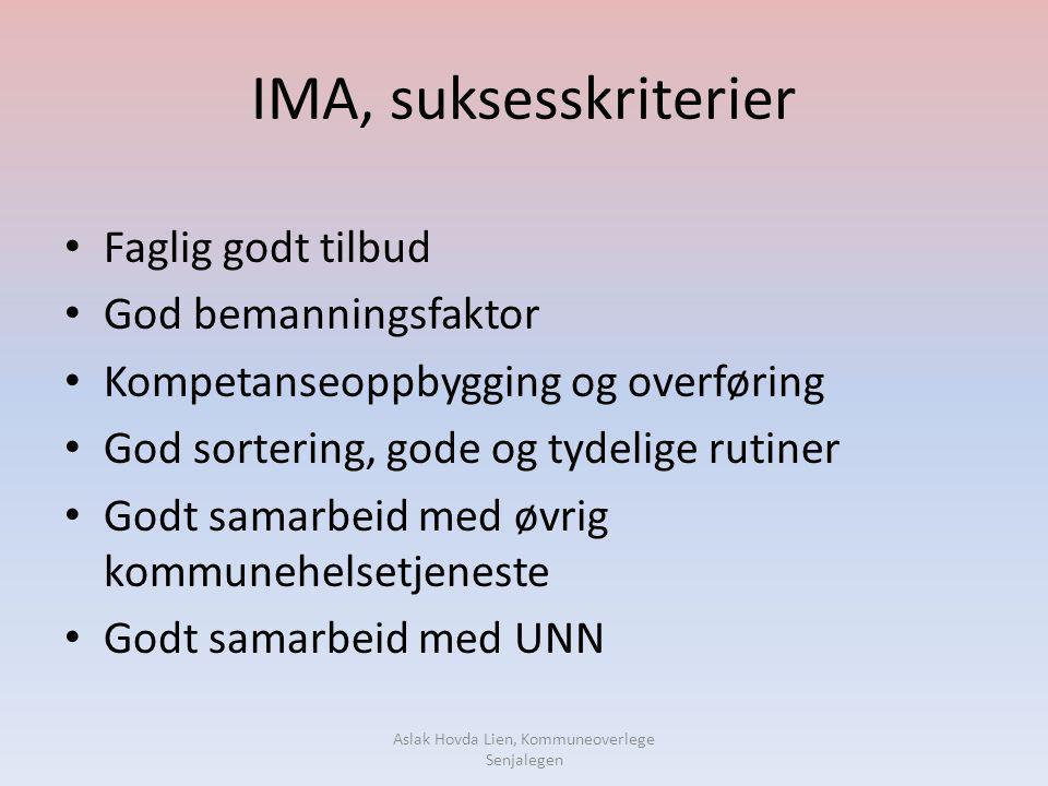 IMA, suksesskriterier • Faglig godt tilbud • God bemanningsfaktor • Kompetanseoppbygging og overføring • God sortering, gode og tydelige rutiner • God
