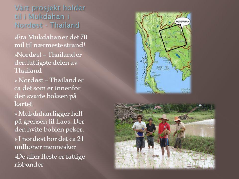 Vårt prosjekt holder til i Mukdahan i Nordøst - Thailand  Fra Mukdahan er det 70 mil til nærmeste strand!  Nordøst – Thailand er den fattigste delen