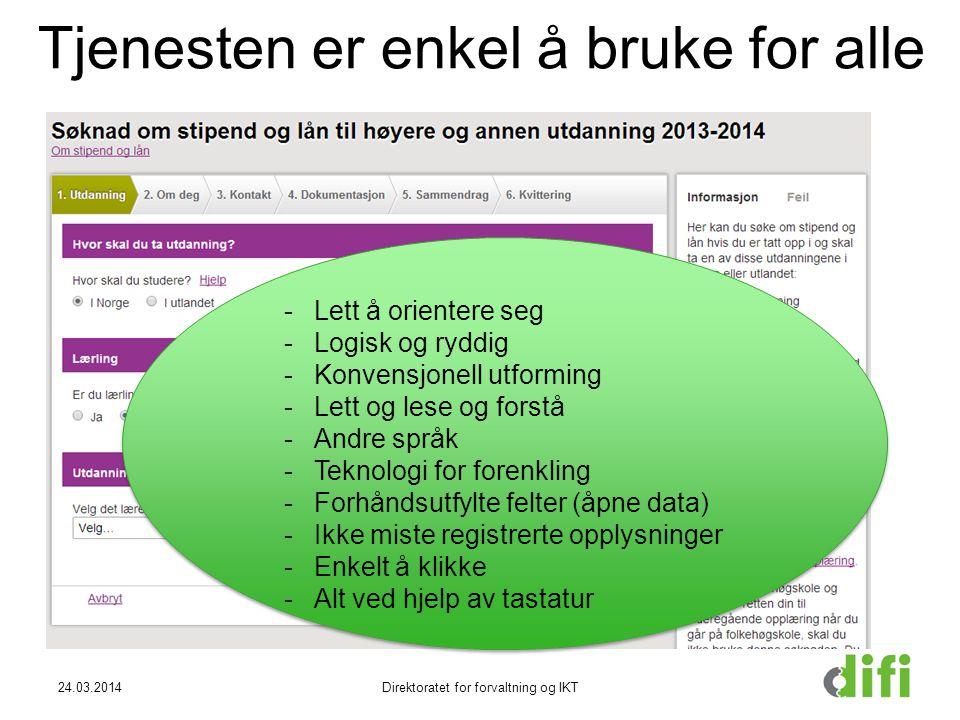 Tjenesten er enkel å bruke for alle 24.03.2014Direktoratet for forvaltning og IKT -Lett å orientere seg -Logisk og ryddig -Konvensjonell utforming -Le