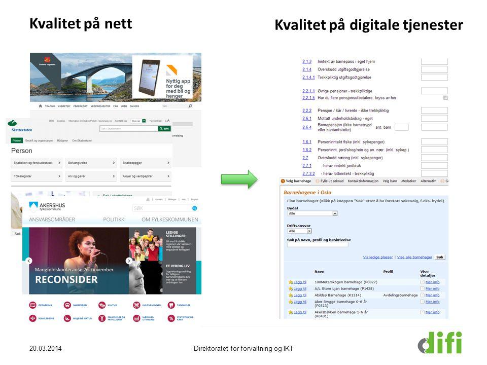 20.03.2014Direktoratet for forvaltning og IKT Kvalitet på nett Kvalitet på digitale tjenester