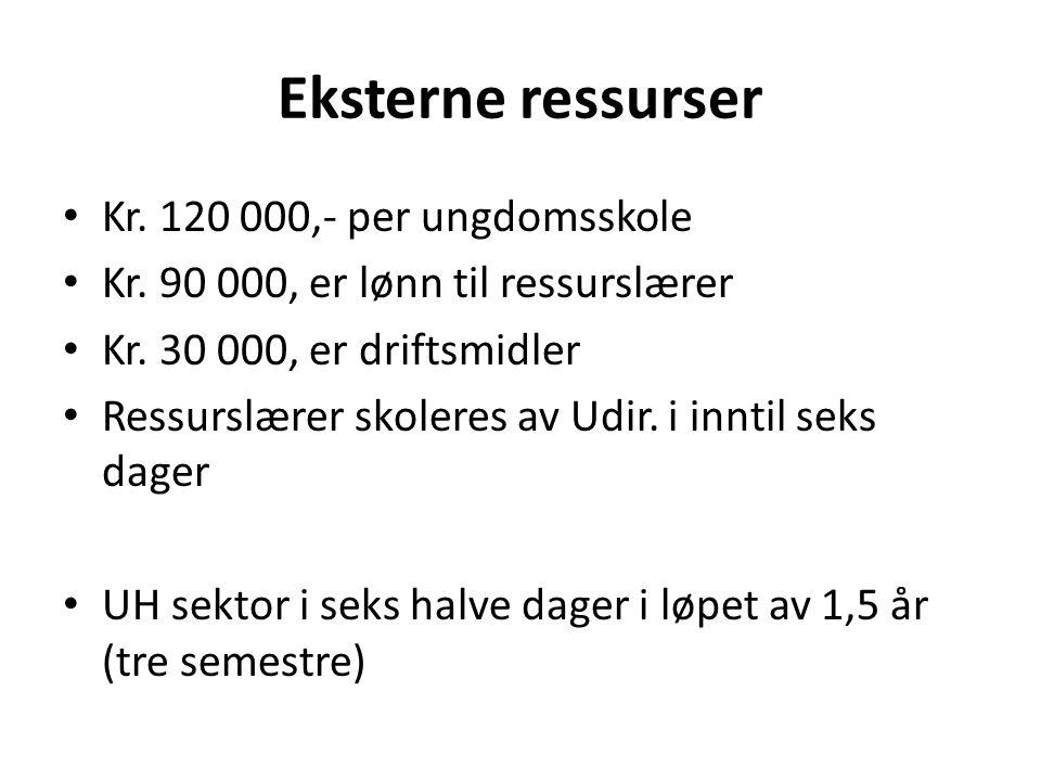 Eksterne ressurser • Kr.120 000,- per ungdomsskole • Kr.