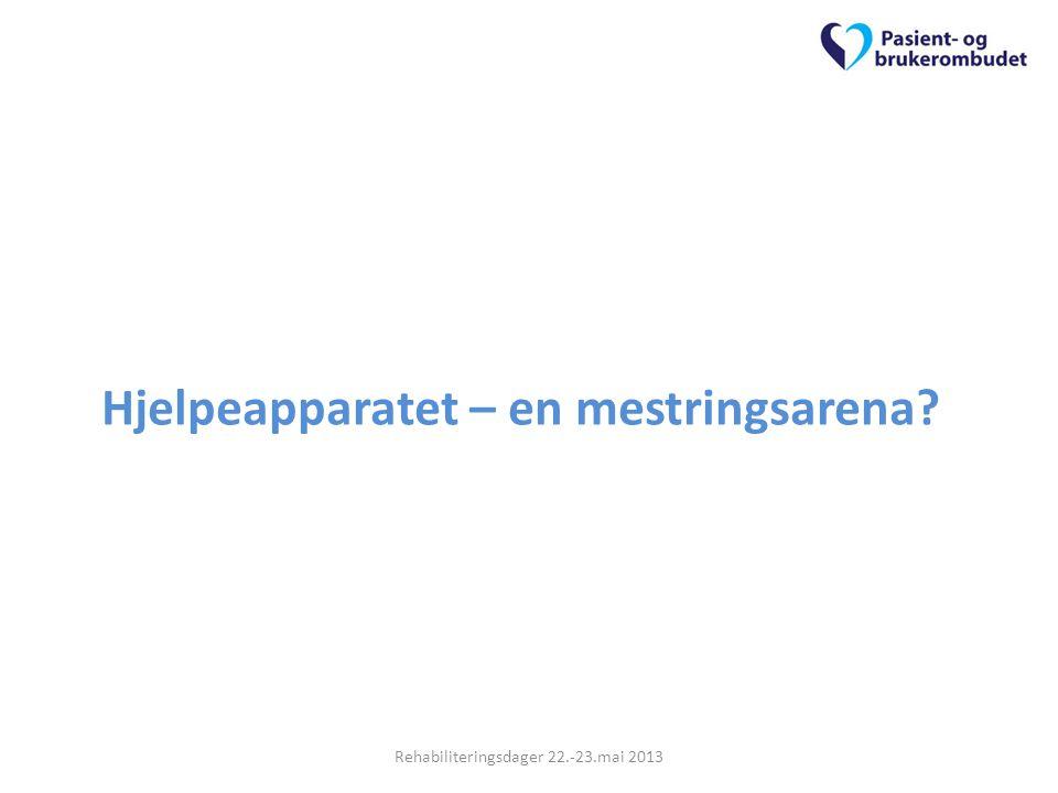 Hjelpeapparatet – en mestringsarena? Rehabiliteringsdager 22.-23.mai 2013