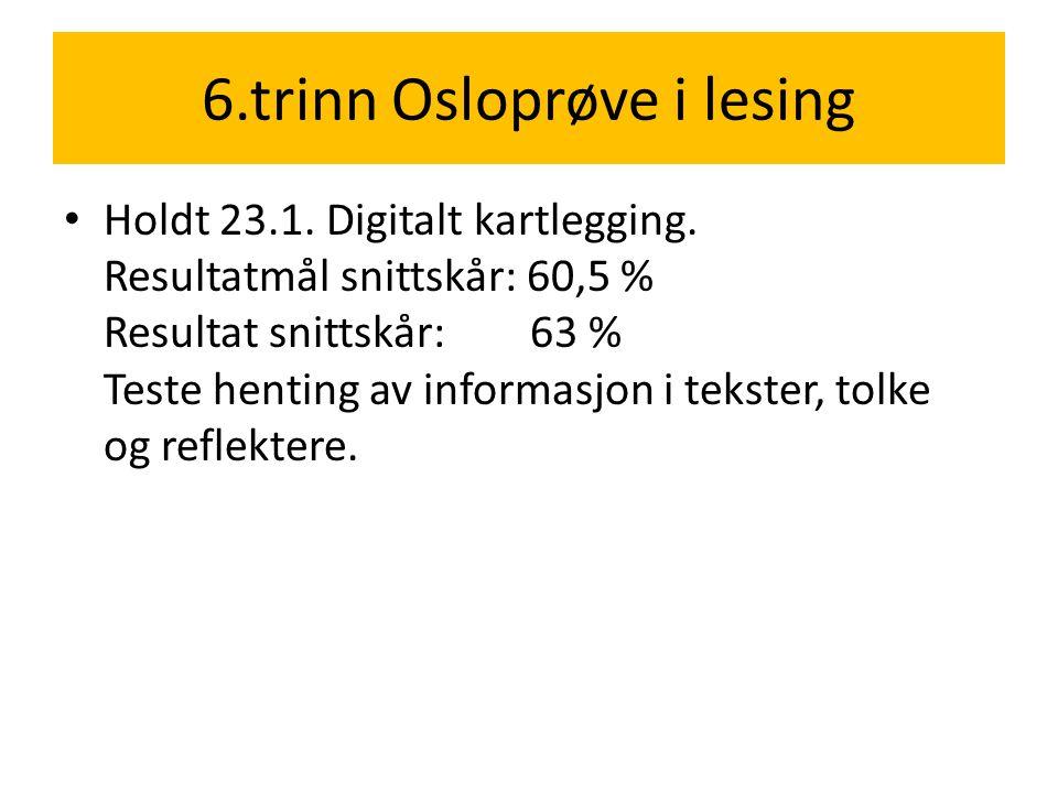 6.trinn Osloprøve i lesing • Holdt 23.1. Digitalt kartlegging. Resultatmål snittskår: 60,5 % Resultat snittskår: 63 % Teste henting av informasjon i t