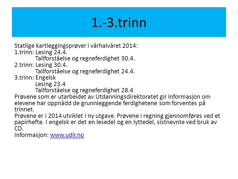 1.-3.trinn Statlige kartleggingsprøver i vårhalvåret 2014: 1.trinn: Lesing 24.4. Tallforståelse og regneferdighet 30.4. 2.trinn: Lesing 30.4. Tallfors