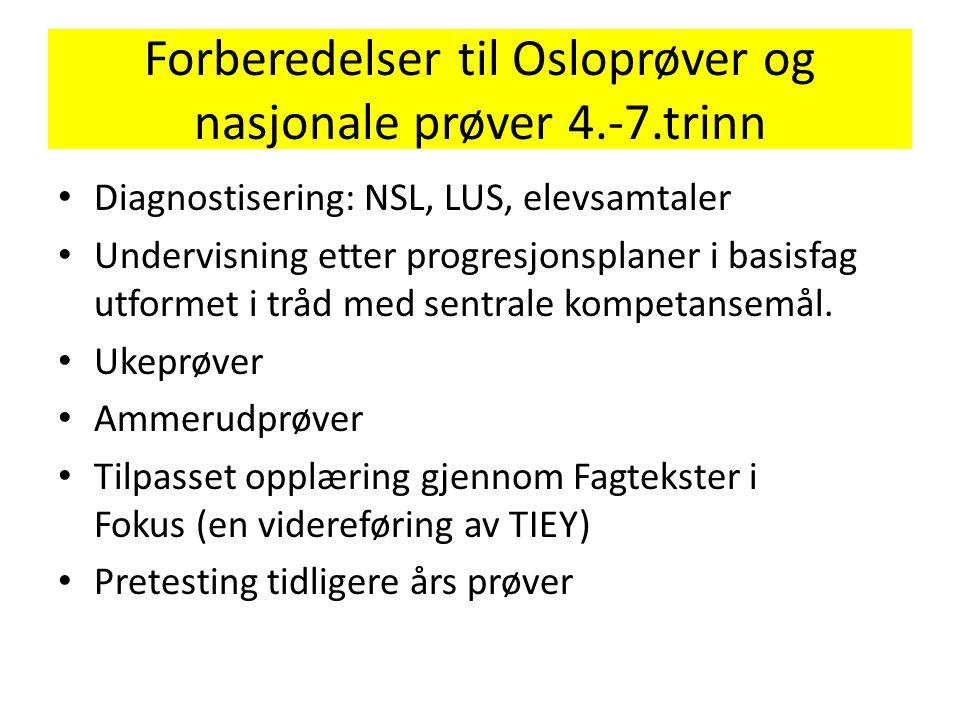 Forberedelser til Osloprøver og nasjonale prøver 4.-7.trinn • Diagnostisering: NSL, LUS, elevsamtaler • Undervisning etter progresjonsplaner i basisfa