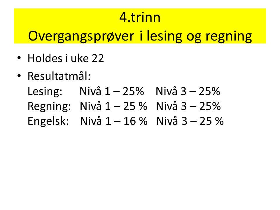 4.trinn Overgangsprøver i lesing og regning • Holdes i uke 22 • Resultatmål: Lesing: Nivå 1 – 25% Nivå 3 – 25% Regning: Nivå 1 – 25 % Nivå 3 – 25% Eng