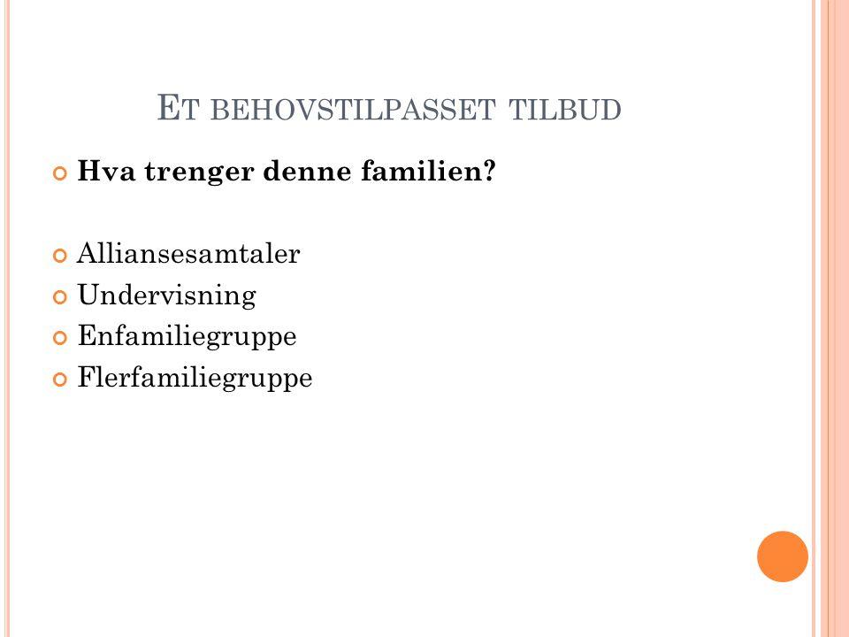 E T BEHOVSTILPASSET TILBUD Hva trenger denne familien? Alliansesamtaler Undervisning Enfamiliegruppe Flerfamiliegruppe