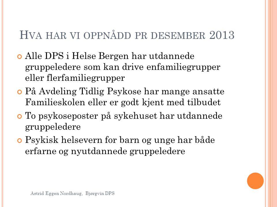 H VA HAR VI OPPNÅDD PR DESEMBER 2013 Alle DPS i Helse Bergen har utdannede gruppeledere som kan drive enfamiliegrupper eller flerfamiliegrupper På Avd