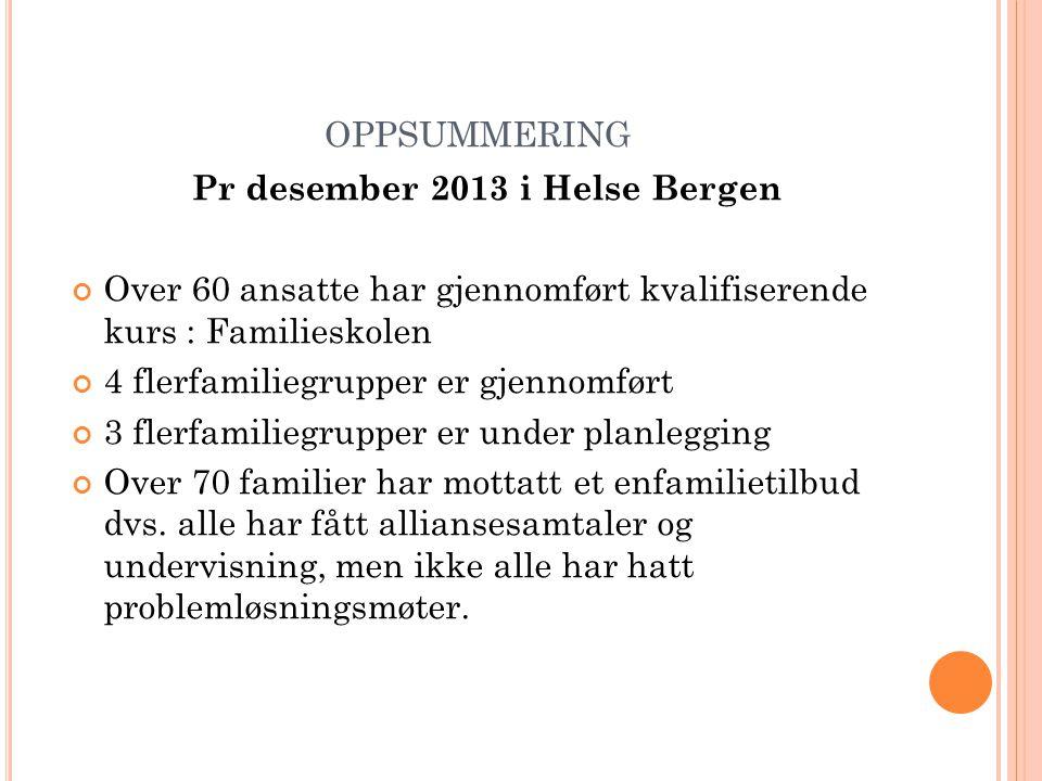 OPPSUMMERING Pr desember 2013 i Helse Bergen Over 60 ansatte har gjennomført kvalifiserende kurs : Familieskolen 4 flerfamiliegrupper er gjennomført 3