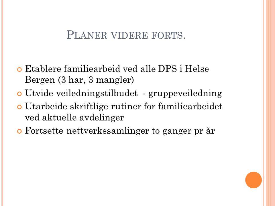 P LANER VIDERE FORTS. Etablere familiearbeid ved alle DPS i Helse Bergen (3 har, 3 mangler) Utvide veiledningstilbudet - gruppeveiledning Utarbeide sk