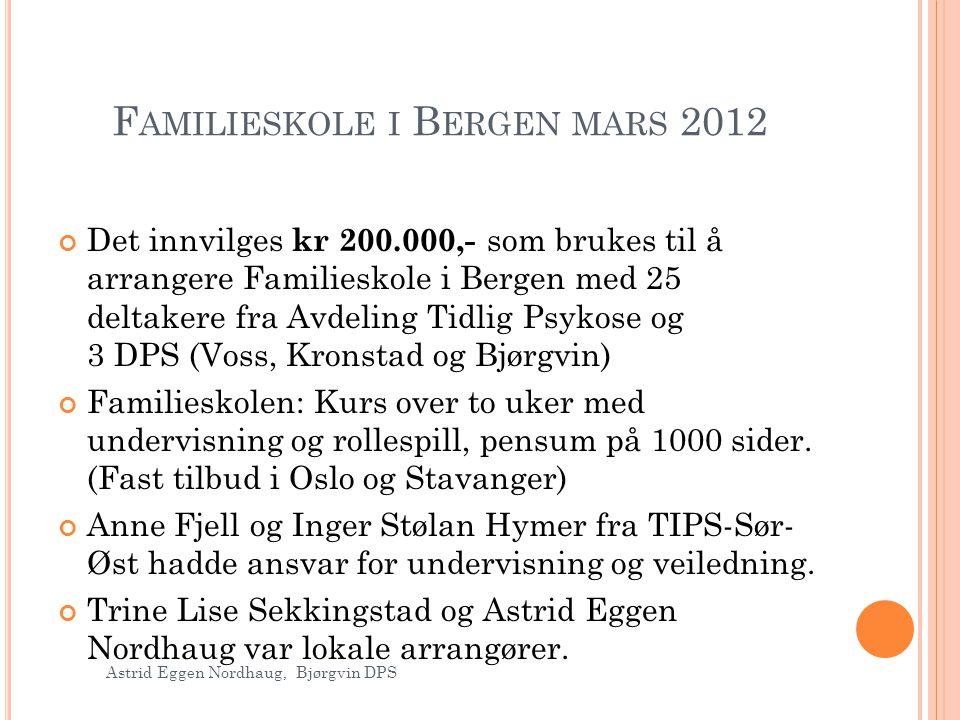 F AMILIESKOLE I B ERGEN MARS 2012 Det innvilges kr 200.000,- som brukes til å arrangere Familieskole i Bergen med 25 deltakere fra Avdeling Tidlig Psy