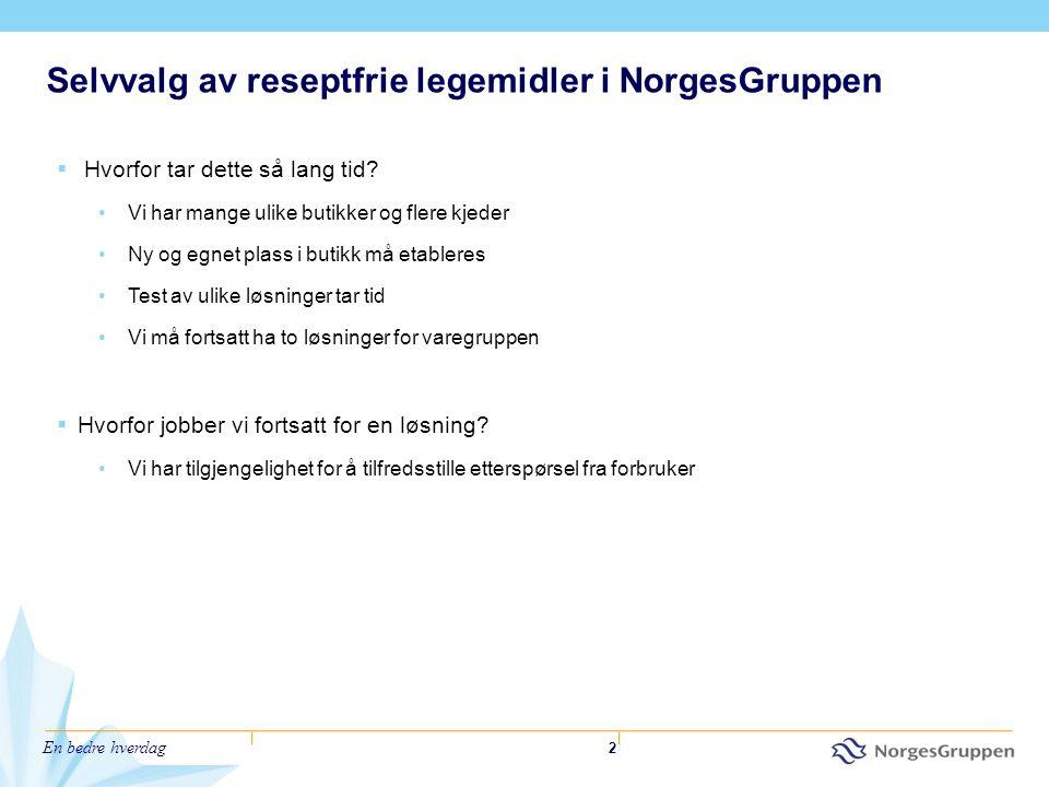 En bedre hverdag 2 Selvvalg av reseptfrie legemidler i NorgesGruppen  Hvorfor tar dette så lang tid? •Vi har mange ulike butikker og flere kjeder •Ny
