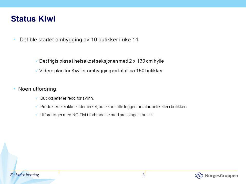 En bedre hverdag 3 Status Kiwi  Det ble startet ombygging av 10 butikker i uke 14  Det frigis plass i helsekost seksjonen med 2 x 130 cm hylle  Vid