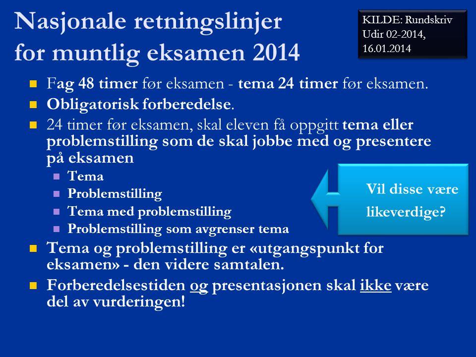 Nasjonale retningslinjer for muntlig eksamen 2014   Fag 48 timer før eksamen - tema 24 timer før eksamen.