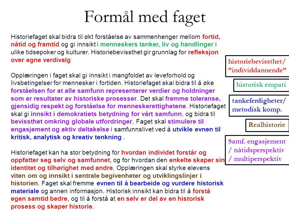 Samtalen og historisk materiale   Etter presentasjonen får kandidaten en kilde som han/hun blir bedt om å relatere til sitt foredrag.