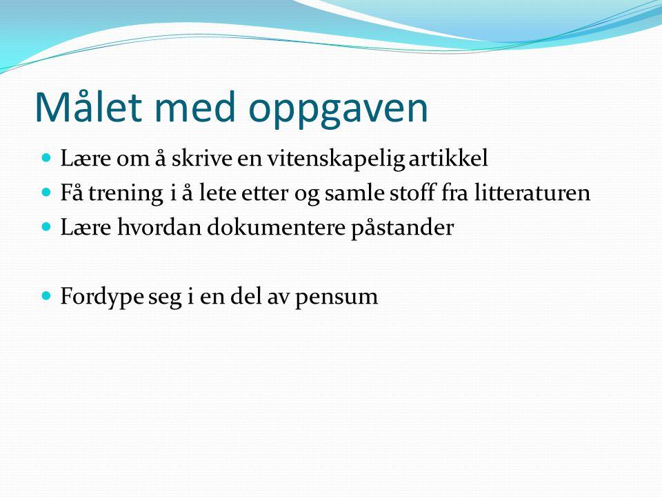 Referanseliste  Referanselisten føres slik:  1) Pedersen et al.