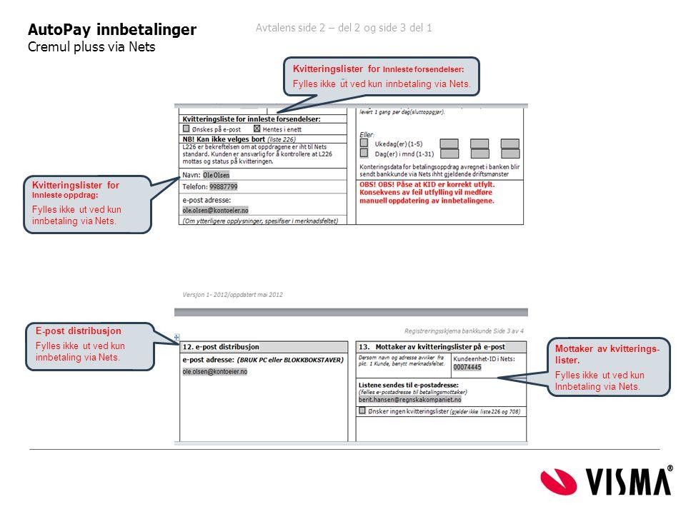 Avtalens side 2 – del 2 og side 3 del 1 ide 1 AutoPay innbetalinger Cremul pluss via Nets E-post distribusjon Fylles ikke ut ved kun innbetaling via N
