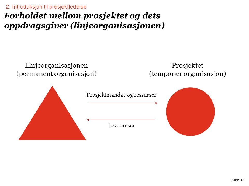 PwC Slide 12 Forholdet mellom prosjektet og dets oppdragsgiver (linjeorganisasjonen) Linjeorganisasjonen (permanent organisasjon) Prosjektet (temporær