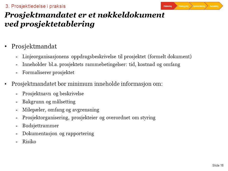 PwC Slide 18 Prosjektmandatet er et nøkkeldokument ved prosjektetablering • Prosjektmandat -Linjeorganisasjonens oppdragsbeskrivelse til prosjektet (f