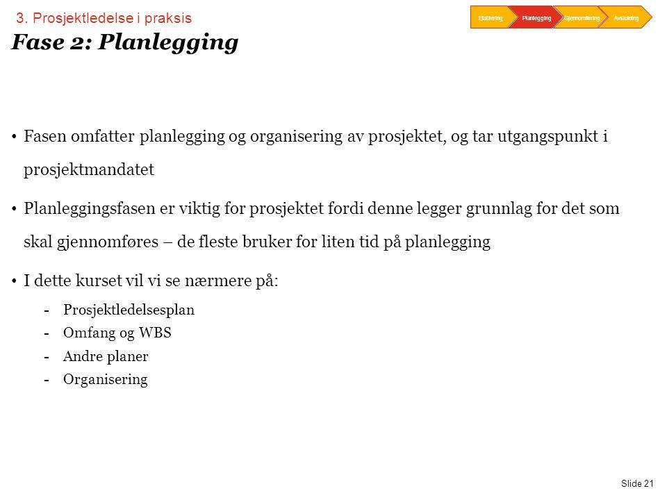 PwC Slide 21 Fase 2: Planlegging • Fasen omfatter planlegging og organisering av prosjektet, og tar utgangspunkt i prosjektmandatet • Planleggingsfase