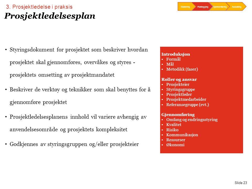 PwC Slide 23 Prosjektledelsesplan • Styringsdokument for prosjektet som beskriver hvordan prosjektet skal gjennomføres, overvåkes og styres - prosjekt