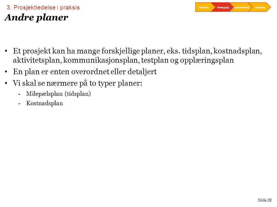 PwC Slide 28 Andre planer • Et prosjekt kan ha mange forskjellige planer, eks. tidsplan, kostnadsplan, aktivitetsplan, kommunikasjonsplan, testplan og