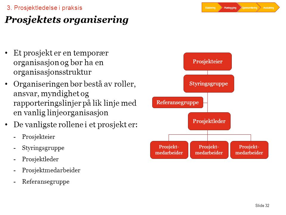 Slide 32 Prosjektets organisering • Et prosjekt er en temporær organisasjon og bør ha en organisasjonsstruktur • Organiseringen bør bestå av roller, a