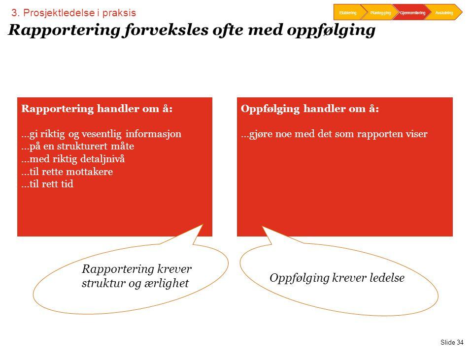 PwC EtableringPlanleggingOppfølgingAvslutningEtableringPlanlegging Gjennomføring Avslutning Slide 34 Rapportering forveksles ofte med oppfølging Oppfø