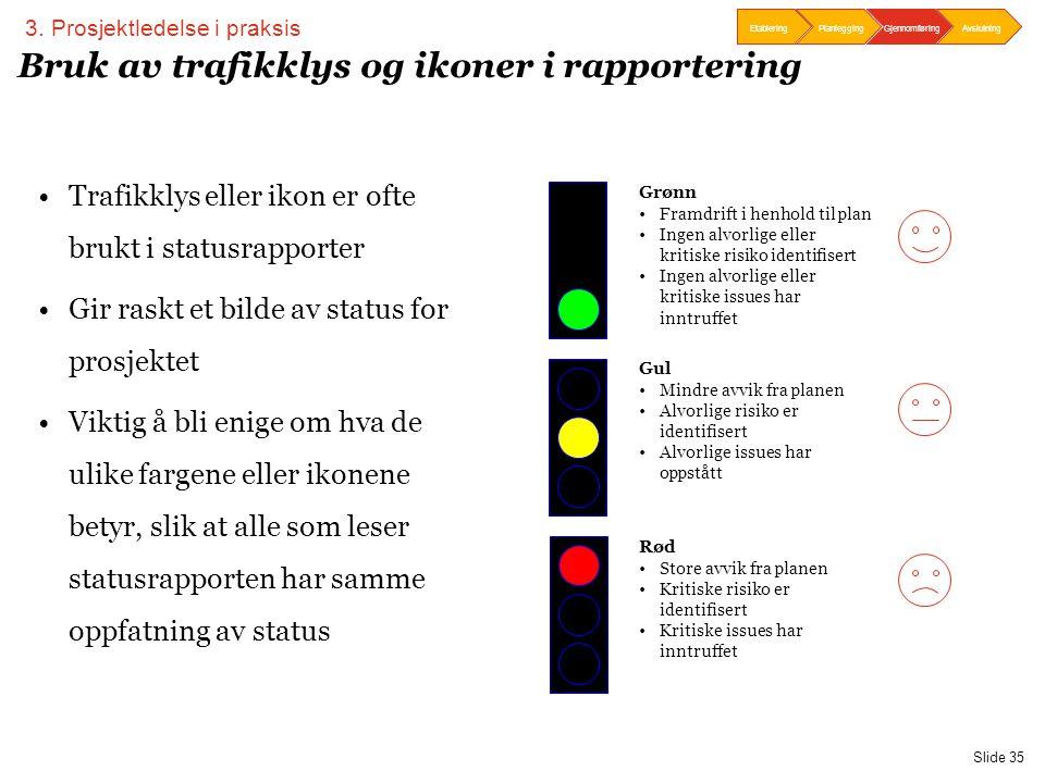 PwC Slide 35 Bruk av trafikklys og ikoner i rapportering •Trafikklys eller ikon er ofte brukt i statusrapporter •Gir raskt et bilde av status for pros