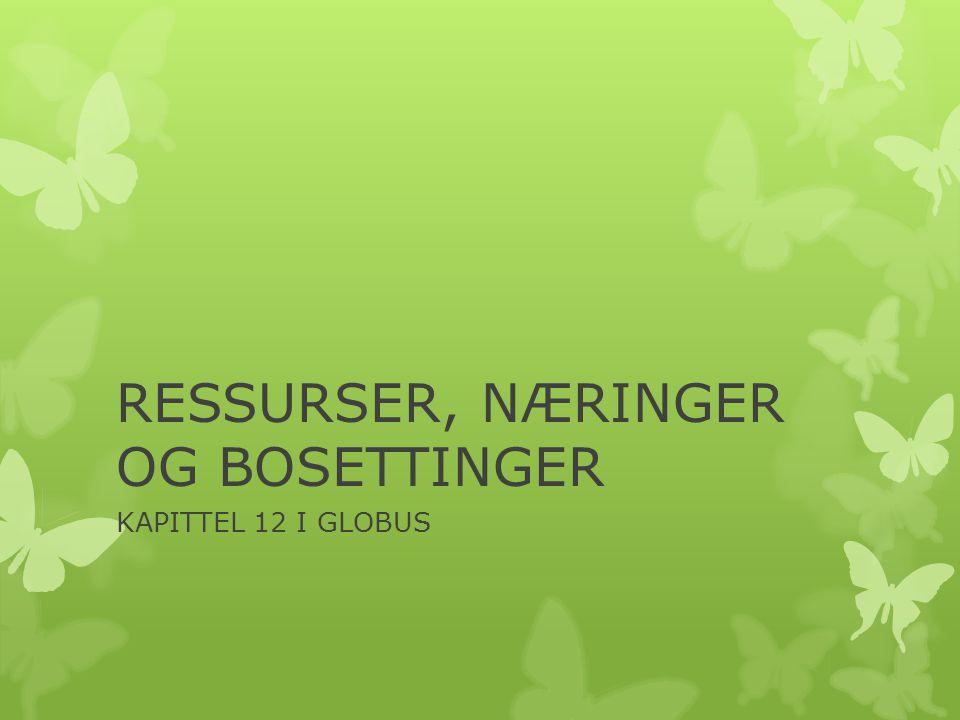 RESSURSER, NÆRINGER OG BOSETTINGER KAPITTEL 12 I GLOBUS