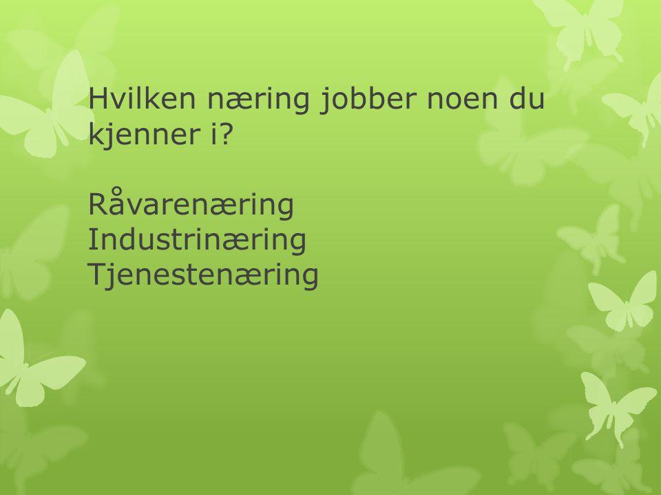Hvilken næring jobber noen du kjenner i? Råvarenæring Industrinæring Tjenestenæring