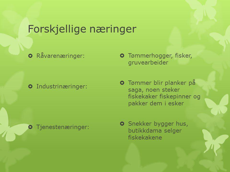 Forskjellige næringer  Råvarenæringer:  Industrinæringer:  Tjenestenæringer:  Tømmerhogger, fisker, gruvearbeider  Tømmer blir planker på saga, n