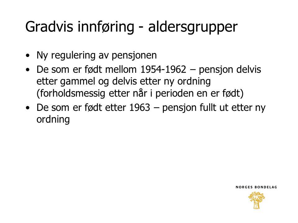 Gradvis innføring - aldersgrupper •Ny regulering av pensjonen •De som er født mellom 1954-1962 – pensjon delvis etter gammel og delvis etter ny ordnin