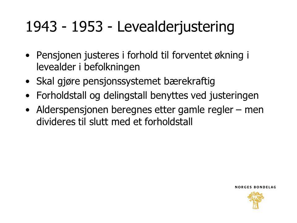 1943 - 1953 - Levealderjustering •Pensjonen justeres i forhold til forventet økning i levealder i befolkningen •Skal gjøre pensjonssystemet bærekrafti