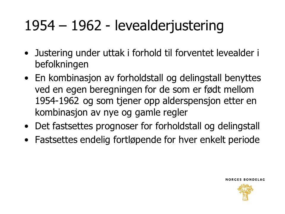 1954 – 1962 - levealderjustering •Justering under uttak i forhold til forventet levealder i befolkningen •En kombinasjon av forholdstall og delingstal