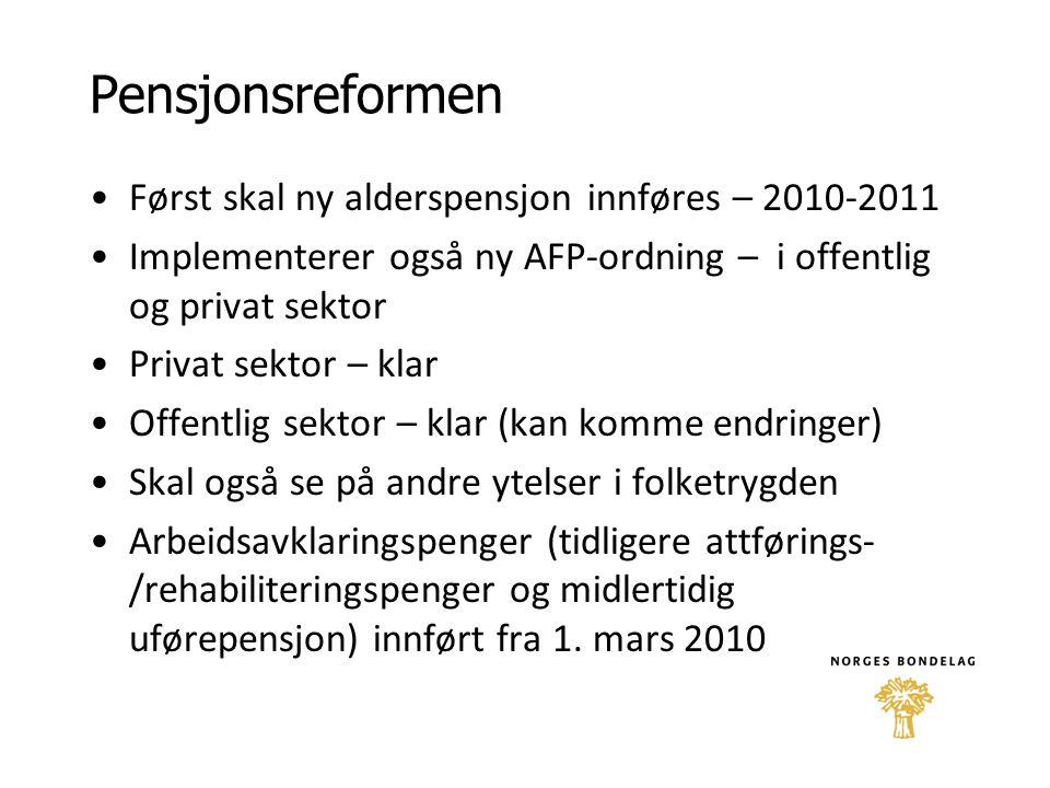 Pensjonsreformen •Først skal ny alderspensjon innføres – 2010-2011 •Implementerer også ny AFP-ordning – i offentlig og privat sektor •Privat sektor –