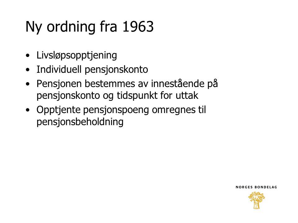 Ny ordning fra 1963 •Livsløpsopptjening •Individuell pensjonskonto •Pensjonen bestemmes av innestående på pensjonskonto og tidspunkt for uttak •Opptje