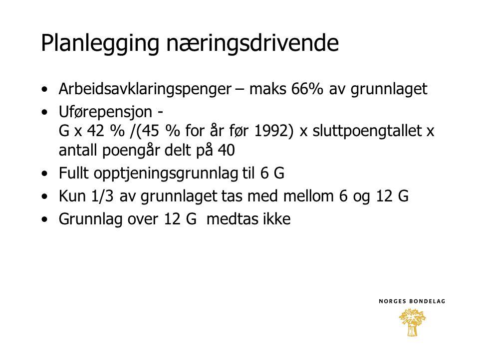 Planlegging næringsdrivende •Arbeidsavklaringspenger – maks 66% av grunnlaget •Uførepensjon - G x 42 % /(45 % for år før 1992) x sluttpoengtallet x an