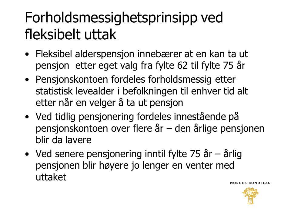 Forholdsmessighetsprinsipp ved fleksibelt uttak •Fleksibel alderspensjon innebærer at en kan ta ut pensjon etter eget valg fra fylte 62 til fylte 75 å
