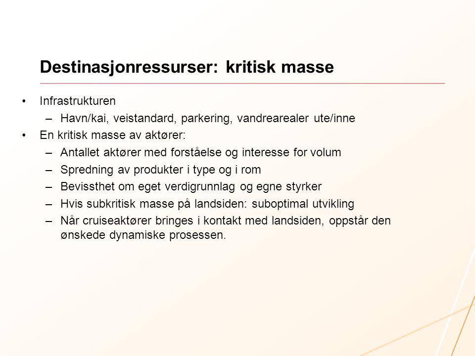 Destinasjonressurser: kritisk masse •Infrastrukturen –Havn/kai, veistandard, parkering, vandrearealer ute/inne •En kritisk masse av aktører: –Antallet