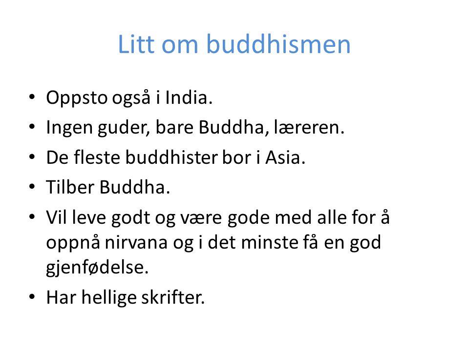 Dette er likt • Oppsto i India • Medtasjon • Pudsja • Templer • Symboler • Karma-regelen • Samsara (gjenfødelse) • Nirvana • Har 3 hovedretninger • Bruker gudestatuer • Har asketer • Begge vil oppnå noe: • Hinduer vil oppnå å bli gjenfødt som menneske i en god kaste.