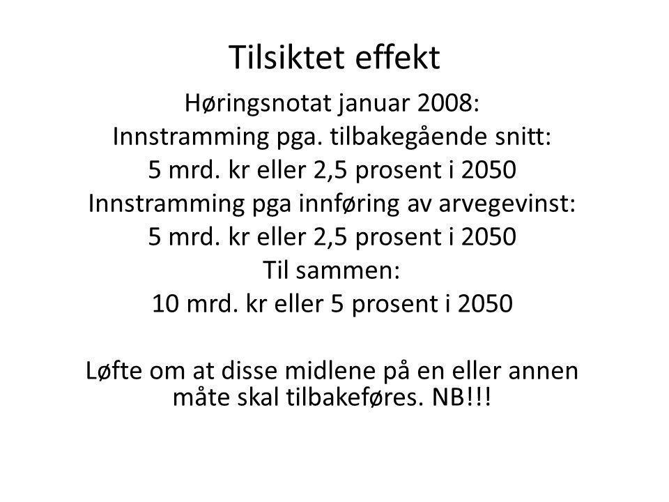 Tilsiktet effekt Høringsnotat januar 2008: Innstramming pga.