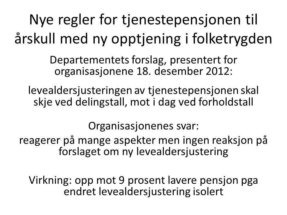 Nye regler for tjenestepensjonen til årskull med ny opptjening i folketrygden Departementets forslag, presentert for organisasjonene 18.